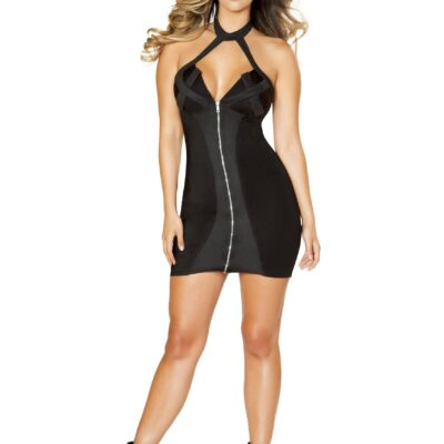 black zip up dress