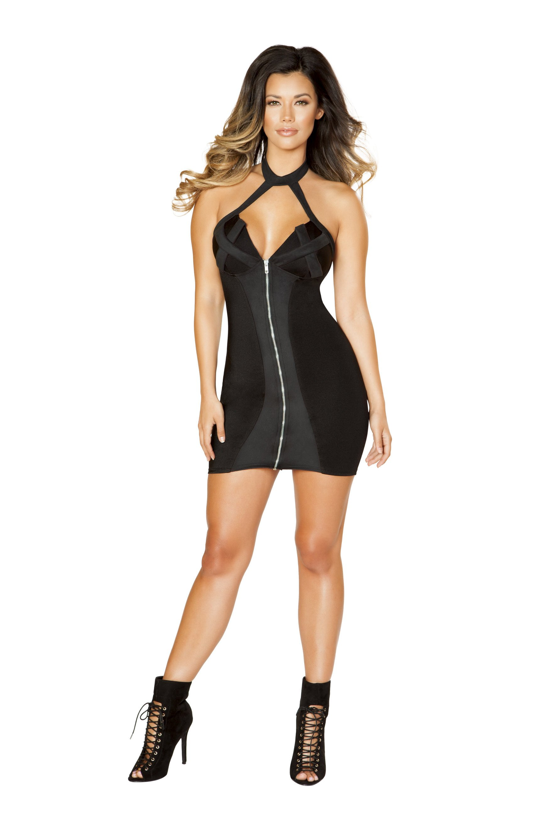 black zip up dress