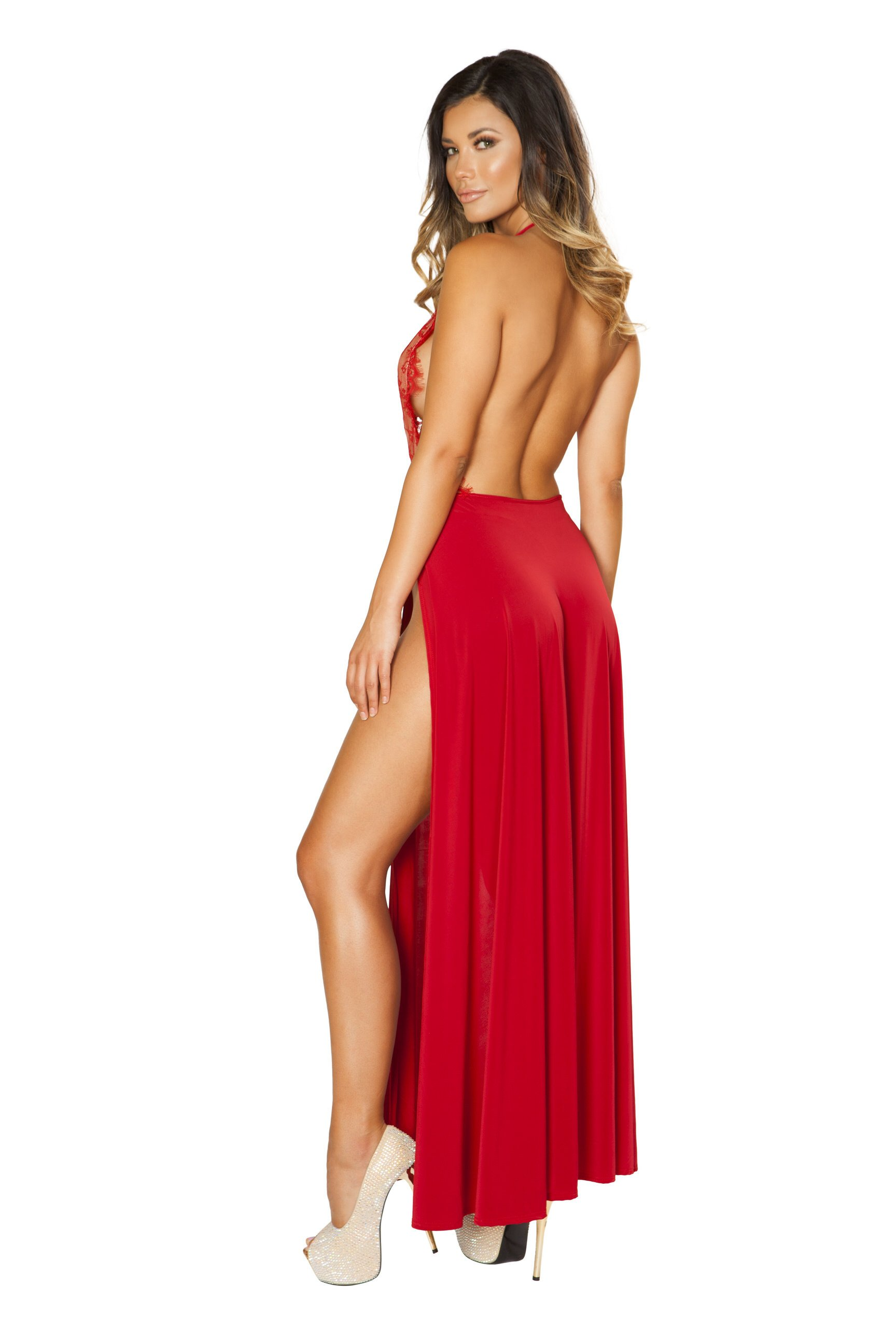 back of red gown